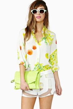 Versace Breezy Bouquet Blouse in  Vintage The Score at Nasty Gal #street #style #streetstyle #fashion
