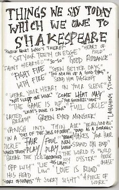 Things We Say Today Which We Owe to Shakespeare- could be used as a poster or as a reference for a bulletin board! :)