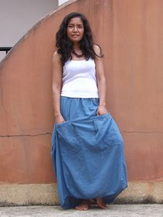 Funky Skirt ...Long Skirt...Color Camouflage Blue by Ablaa on Etsy