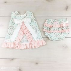 Pink & Aqua Baby Pinafore Top & Bloomers Outfit