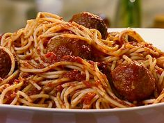 Spaghetti with Turkey Meatballs Recipe : Patrick and Gina Neely : Food Network - FoodNetwork.com