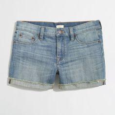 J.Crew Factory cutoff denim short (39 CAD) ❤ liked on Polyvore featuring shorts, denim shorts, cutoff shorts, cut-off, stretchy jean shorts and j. crew shorts