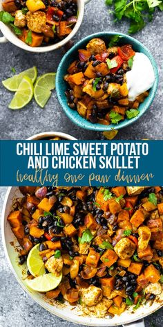 This Chili Lime Sweet Potato and Chicken Skillet recipe is a healthy one pan dinner recipe with delicious Southwestern flavor. Perfect recipe for meal prep. Serve with a dollop of yogurt and a squeeze of lime! Chicken Skillet Recipes, Skillet Meals, One Pot Meals, Easy Meals, Clean Eating Recipes, Cooking Recipes, Cooking Gadgets, Pizza Recipes, One Pan Dinner Recipes
