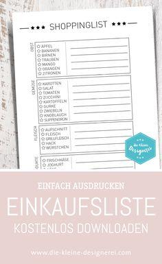 Free Download: Einkaufsliste zum Ankreuzen und Ausfüllen der wichtigsten Dinge. www.die-kleine-designerei.com