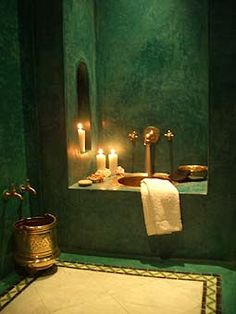 Riad Samarkand - hammam Love the bold color, chakra's Moroccan Bathroom, Bathroom Spa, Bathroom Interior, Dream Bathrooms, Amazing Bathrooms, Geometric Shapes Wallpaper, Interior Exterior, Interior Design, Tadelakt