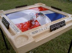 Domino Tables by Art with Dominican Republic Bandera & Light Wood Frame