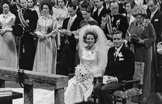 In 1966, Princess Beatrix married Claus van Amsberg in a civil ceremony at the town hall followed by a religious service at the Westerkerk. Here they are pictured on their wedding day with Beatrix's parents Queen Juliana and Prince Bernhard behind