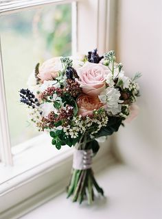 Pretty Pink Peony and Rose Lavender Bridal Bouquet