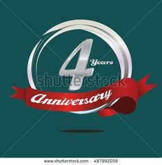 4 years silver anniversary logo with ring composition and red ribbon. anniversary logo for birthday, celebration, wedding and party