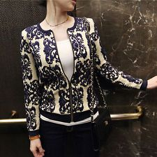 New Korea Fashion Floral Cardigan Womens Long Sleeve Slim Zipper Knitted Sweater