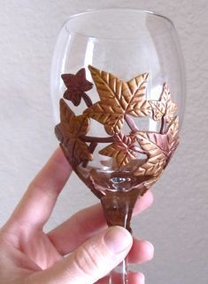 Fall leaves polymer clay wine glass