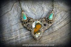 Honey Dendritic Opal gemstone pendant Turquoise от PeaceElements
