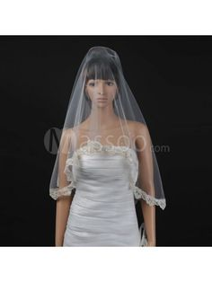 Embroidery Decorated Tulle Wedding Veil in Ivory with Embroidered Edge MS42RT497