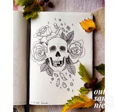 An inked drawing of a skull surrounded by roses and gemstones by Outi Santaniemi. #ink #sketch #inktober