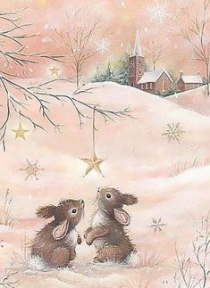 Gentle, kind and very nice illustration of Sarah Summers. Discussion on LiveInternet - Russian Service Online diary Christmas Scenes, Noel Christmas, Christmas Animals, Christmas Pictures, Winter Christmas, Xmas, Christmas Bunny, Illustration Noel, Christmas Illustration