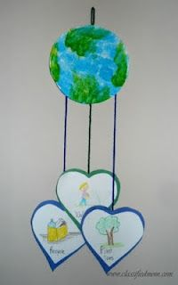 Earth day mobile. Each of the circles could have a written and drawn example of how to care for the earth. May be a winner for this year's craft!