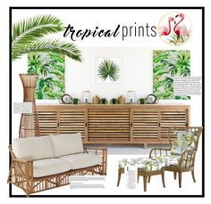 """""""Tropical Prints"""" by sac001 ❤ liked on Polyvore featuring interior, interiors, interior design, home, home decor, interior decorating, Pier 1 Imports, Tommy Bahama, Pottery Barn and tropicalprints"""