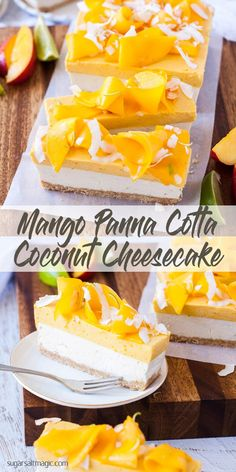 Mango Coconut Cheesecake This Mango Panna Cotta Coconut Cheesecake is 3 dreamy layers of tropical dessert. Creamy Mango Panna Cotta and creamy nobake cheesecake of coconut and lime. Tropical Desserts, Easy Summer Desserts, Refreshing Desserts, Delicious Desserts, Mango Dessert Recipes, Yummy Treats, Mango Cheesecake, Coconut Cheesecake, Cheesecake Recipes