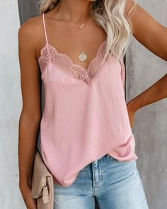Discover recipes, home ideas, style inspiration and other ideas to try. Pink Top Outfit, Casual Outfits, Cute Outfits, Girl Fashion, Fashion Outfits, Lace Bodysuit, Spring Outfits, Ideias Fashion, Tank Tops