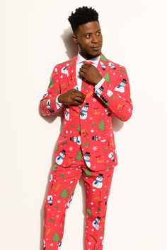Ugly Xmas Sweater Costumes Include Jacket Pants /& Tie Christmas Blue Snowman Suitmeister Christmas Suits for Men M