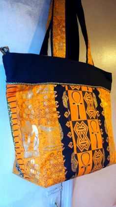 f4dbb1be18e Large African Totebag Papaya Gold and Black by beeceequilts, $45.00 African  Quilts, African Fabric