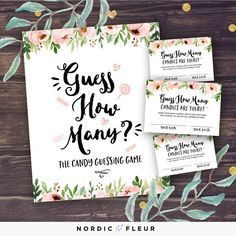 Guess How Many Candies Baby Shower Game, Floral Baby Shower, Spring Flowers, Roses and Peonies, How Many Candy in the Jar, Instant Download