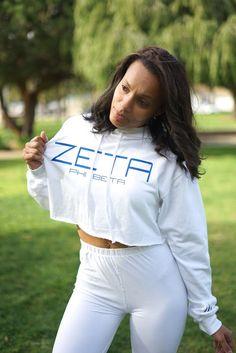 I Said My Soror Zeta cropped hoodie, white - finer woman Zeta Phi Beta ?F? #BurningSands #Hoodie