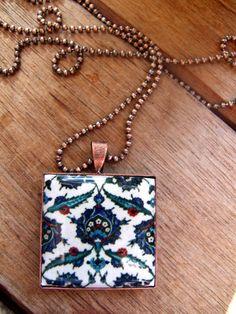 Turkish jewelry tile pendant necklace Tribal by CorinaCrooks Turkish Decor, Turkish Tiles, Turkish Art, Copper Necklace, Tribal Necklace, Pendant Necklace, Easter Art, Beaded Jewelry, Unique Jewelry