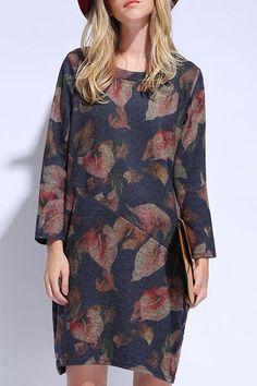 Flowers Print Scoop Neck Long Sleeve Dress | New In Store