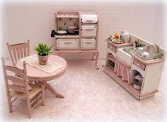 Dollhouse miniature Shabby cottage kitchen stove in pink and white