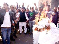 NPP workers burning effigy of PDP-BJP Govt at Ramnagar.
