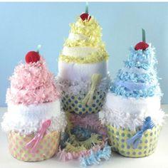 Cute little diaper cakes