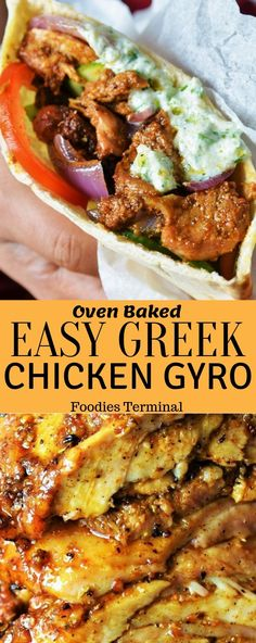 Gyro lovers don't miss this super easy Authentic Greek Chicken Gyro Recipe that's oven baked. And the taste deepens with my homemade gyro marinade, that instantly makes this easy Greek gyros a big hit Tzatziki Sauce, Salsa Tzatziki, Chicken Gyro Recipe, Greek Chicken Recipes, Chicken Gyros, Fried Chicken, Greek Food Recipes, Chicken Ravioli, Food Dinners