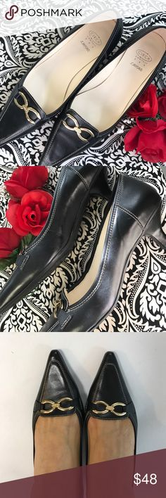 Pointy Black Shoes 👠 Perfect for the Office conference. Patent leather upper. Golden hardware accent at vamp Pointed closed toe and padded lining 2 inch heel. In perfect condition Wear them twice. No Box. True sz8.5 Joan & David Shoes Heels