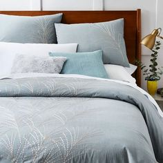 Embroidered Seagrass Duvet Cover + Shams - Blue Stone | west elm