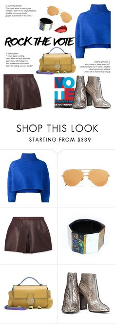"""Rock the Vote! Make Your Voice Heard!"" by outfitsfortravel ❤ liked on Polyvore featuring Vika Gazinskaya, Linda Farrow, Vince, Niin, Fendi, Tom Ford and contemporary"