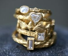 22K Gold Diamond Ring Collection | Cathy Waterman Love of My Life | Twist
