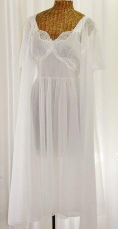 bd7dc5f8f4 Vintage 1960s Vanity Fair chiffon peignoir set in pure white is truly  exquisite and glamorous.