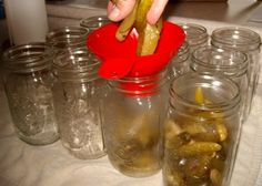 packing pickles in canning jars Canning Jars, Mason Jars, Sweet Pickles, Family Meals, Packing, Gardening, Recipes, Food, Bag Packaging