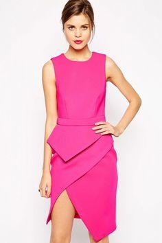 Pink Premium Asymmetric Peplum Dress US$23.14 Sexy Outfits, Hot Pink Dresses, Peplum Dresses, Corset Dresses, Summer Dresses, Cheap Dresses, Bright Dress, Costume, Party Dresses For Women