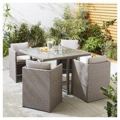 San Marino 5 Piece Rattan Cube Garden Dining Set, Grey