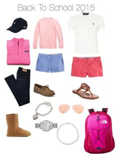 Back To School 2015 by sarahbell8687 on Polyvore featuring polyvore, fashion, style, Polo Ralph Lauren, Vineyard Vines, Abercrombie & Fitch, J.Crew, UGG Australia, Tory Burch, Sperry Top-Sider, The North Face, Michael Kors, Tiffany & Co., Ray-Ban and preppy