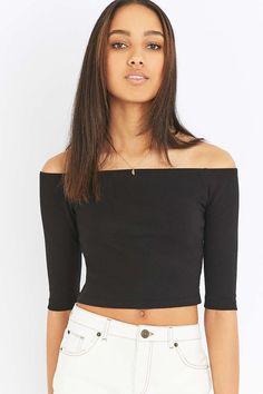 Shop Light Before Dark Bardot Black Ribbed Long Sleeve Top at Urban Outfitters today. Bardot, Ribbed Top, Summer Outfits, Summer Clothes, Long Sleeve Tops, Off The Shoulder, Urban Outfitters, Crop Tops, Polyvore