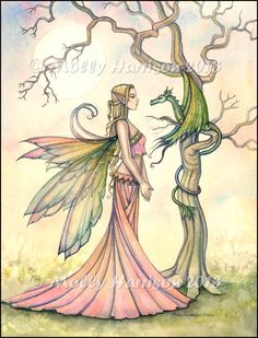 Aurora and the Dragon - Original Fairy Fantasy Art Painting by Molly Harrison.