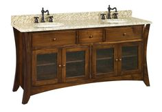 "Amish 72"" Hesston Shaker Bathroom Double Vanity Cabinet"