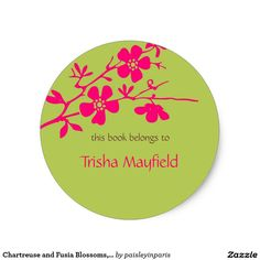 Chartreuse and Fusia Blossoms, Bookplates Round Sticker