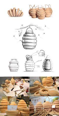 El Studio Backbone ha creado este packaging para miel, imitando la forma del panal de las abejas. Una envoltura de madera, simple pero original, refleja un producto natural y ecológico. ¡No …