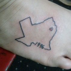 """I got the basic idea of the Texas from Pinterest. But then I made it my own. The original had """"home"""" where the year is, so I replaced that with my birth year and I added the heart where home is.   This was my first tattoo and it didn't hurt as bad as I thought it would. I'm definitely in love with it!"""