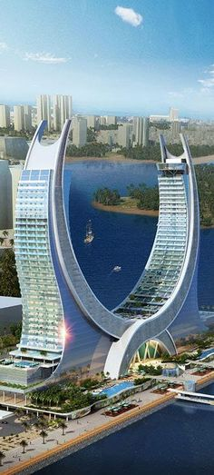 pl Katara Towers, Lusail Marina District, Doha, Qatar by Kling Consult Architects :: 40 floors, height :: proposal vertical-jump-training. Unusual Buildings, Interesting Buildings, Amazing Buildings, Modern Buildings, Contemporary Buildings, Futuristic Architecture, Beautiful Architecture, Art And Architecture, Organic Architecture