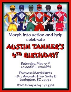 Power Rangers Invitations #2